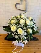 Twelve White Rose Bouquet