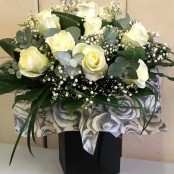 Twelve White Rose Bouquet